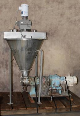 Pump 9 x 3.5 rectangle inlet Waukesha Cherry-Burrell positive displacement pump model 134 UL, 5 hp, Stainless Steel