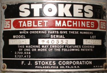 Press Stokes tablet press model 512-1, 16 stations, 4 ton, up to 5/8 dia. X 11/16 deep. tablet size