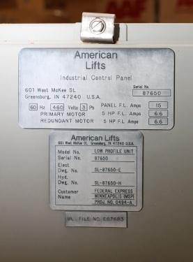 Pump 10 hp American Lifts hydraulic power unit, model Low Profil Unit, 35 gal(US) reservoir tank, 2000 psi