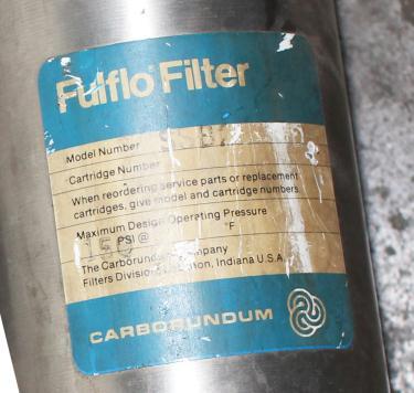 Filtration Equipment 3/4 Commercial Filter Corporation cartridge filter model SSB-20-3/4, Stainless Steel