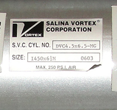 Valve 450X 6 ½ 0603 Salina Vortex Corp gate valve, pneumatic, Stainless Steel Contact Parts