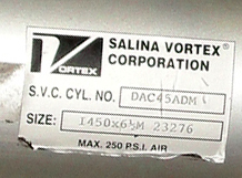 Valve 450X 6 ½ 23276 Salina Vortex Corp gate valve, pneumatic, Stainless Steel Contact Parts