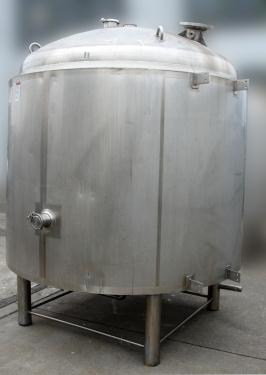 Tank 1300 gallon vertical tank, Stainless Steel, 60 psi @ 300 F internal, dish Bottom