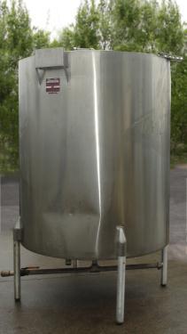 Tank 550 gallon vertical tank, Stainless Steel, bottom only jacket, dish Bottom