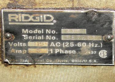 Machine Tool Ridgid model 535, 1- 2 capacity