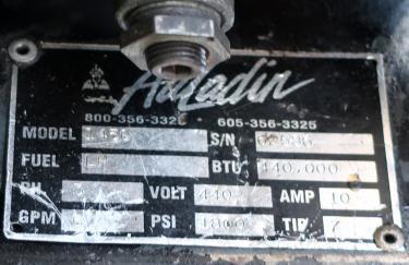Miscellaneous Equipment Aaladin model 1450 pressure washer, 6 hp, 1800 psi, 5 gpm, 440,000 b.t.u.