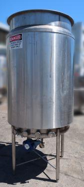 Tank 250 gallon vertical tank, Stainless Steel, dish bottom