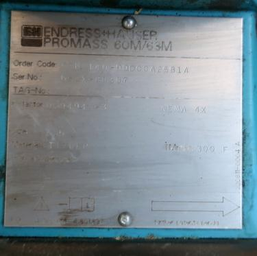 Valve 1.5 Endress-Hauser model ProMass 63M liquid flow meter, Stainless Steel