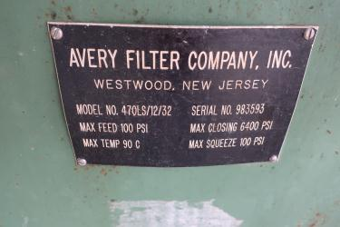 Filtration Equipment 2 cu.ft. Avery Filter Co. recessed plate filter press model 470LS/12/32, poly
