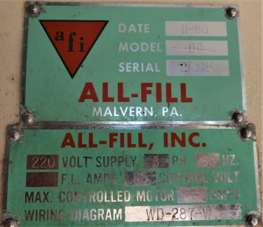 Filler single head All Fill Inc. auger filler model BC, 2 auger
