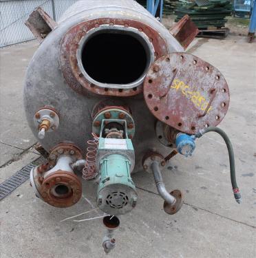 Tank 500 gallon vertical tank, Stainless Steel, dimpled jacket, 0.33 hp agitator, dish