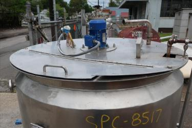 Tank 280 gallon vertical tank, Stainless Steel, .31 KW agitator, dish bottom