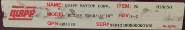 Conveyor Quipp belt conveyor model Mat Top Conv. Bundle Turn, CS, 18 x 130